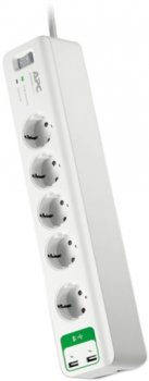 Сетевой фильтр APC Essential SurgeArrest 5 розеток + 2 USB White (PM5U-RS)
