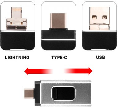 UFT FD64 3 в 1 64GB USB / Type-C / Lightning (UFTFD64)