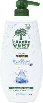 Крем-гель для душа L'Arbre Vert мицеллярный очищающий с цветочной водой василька 720 мл (3450601032295)
