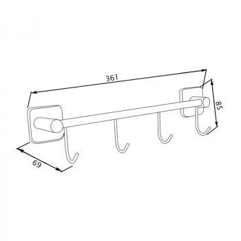 Крючок для ванной GF (CRM)/S-2714-4 настенный