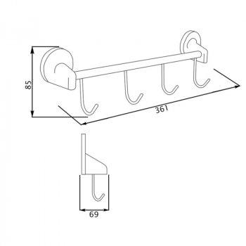 Крючок для ванной GF (CRM)/S-2814-4 настенный