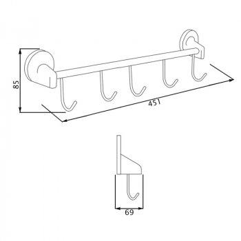 Крючок для ванной GF (CRM)/S-2814-5 настенный