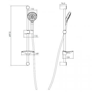 Штанга душевая Imprese L-66см ручной душ на 3 режима шланг мыльница