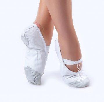 Балетки танцювальні Dance&Sport 011 з нашитою шкірою на носку та шкіряною підошвою Білі