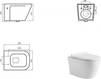 Унітаз підвісний DEVIT Up Clean Pro безобідковий зі сидінням Soft Close Quick-Fix дюропласт 3020120