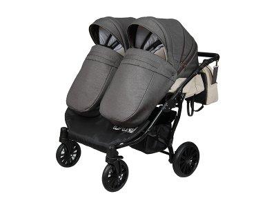 Дитяча коляска для двійні 2 в 1 Angelina Amadeo Duo сіра з молочним color 9