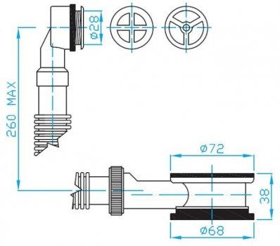 """Водослив для раковины PLAST BRNO 5/4"""" с круглой стальной решеткой (EDL0030)"""
