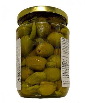 Оливки PALLADA S.Colossal 111-120 фарш. огурцом 0,720 кг зеленые