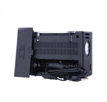 Аккумуляторный радиоприемник с солнечной панелью колонка ретро SD USB и Фонарь Черный NNS (NS-1555S)