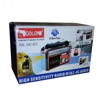 Аудио система с Bluetooth аккумуляторный ретро радиоприемник колонка с радио и USB выходом и фонариком Золотой Golon (RX-381BT)