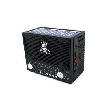 Аккумуляторный радиоприемник с солнечной панелью Bluetooth SD USB и Фонарь Черный NNS (NS-1556BTS)