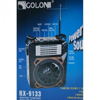 Аккумуляторный портативный радиоприемник FM радио колонка с фонариком и USB выходом Черно-синий Golon (RX-9133)