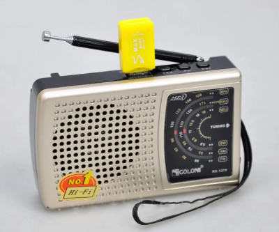 Аккумуляторный портативный радиоприемник FM радио с USB выходом и фонариком Серебристый Golon (RX-1270)