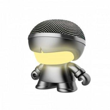 """Акуст. система XOOPAR серії """"Металік"""" - Mini XBOY (7,5 cm,сер.,Bluetooth,USB-каб,подсв., ремешк.)"""