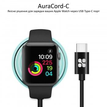 Кабель Promate AuraCord-C USB Type-C для зарядки Apple Watch с MFI 1 м Black (auracord-c.black)