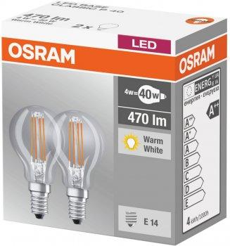 Набір світлодіодних ламп OSRAM BASE P45 куля 4 W 2700 K 230 V Filament E14 2 шт. (4058075803954)