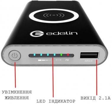 Повербанк з бездротовою зарядкою Edelin Power Bank Qi 10000 WIRELESS CHARGET Black
