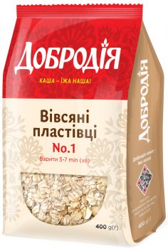 Упаковка пластівців вівсяних Добродія №1 400 г х 5 шт. (4820182202551)