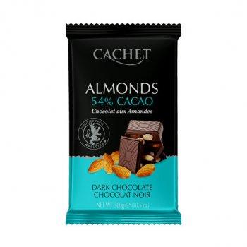 Шоколад Cachet Almonds черный с миндалем №49 300г.