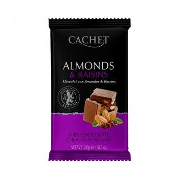 Шоколад Cachet Almonds Raisins молочний з горіхами та родзинками №47 300г.