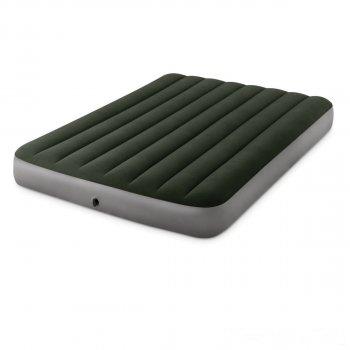 Новинка 2020! Надувной матрас Intex 64762-1 Pillow Rest Classic со встроенным ножным насосом полуторный и подушкой (137х191х25) зеленый (in-64762-1)