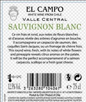 Вино El Campo Sauvignon Blanc Reserva Privada белое сухое 0.75 л 12.5% (3263280104067)
