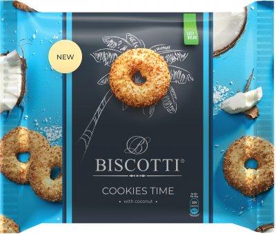 Упаковка печенья BISCOTTI Cookies Time с кокосом 160 г х 12 шт (4820216120134)