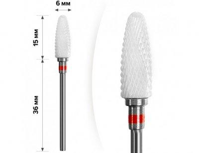 Фреза керамічна Nail Drill для зняття гель-лаку (Кукурудза)- 640 701 (червона насічка)