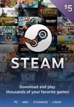 Електронний ключ (Подарункова картка) Стім Steam Gift Card на суму 5 usd, (Всі регіони)