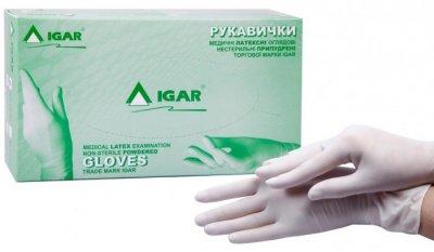 Одноразовые перчатки Igar латексные смотровые нестерильные размер L 50 пар (52-017)