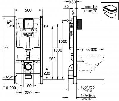 Инсталляция GROHE Rapid SL 38840000 с креплением 3855800M и звукоизолирующей прокладкой 37131000
