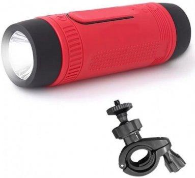Беспроводная велосипедная bluetooth колонка ZeaLot S2 Красная + фонарь