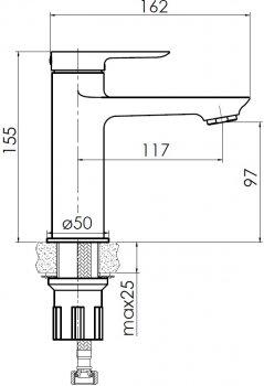 Змішувач для раковини VOLLE Dios New 15121100