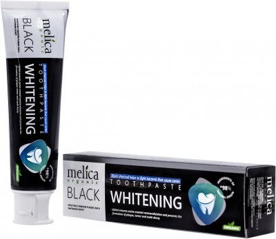 Зубная паста отбеливающая Melica Organic с черным древесным углем 100 мл (4770416003570)