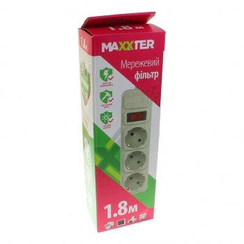 Мережевий фільтр Maxxter SPM3-G-6G 1.8 m grey