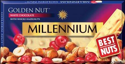 Упаковка белого шоколада Millennium Gold с цельным фундуком и клюквой 100 г х 25 шт (4820005193103)