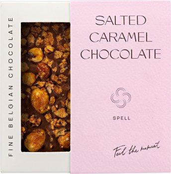 Шоколад Spell с соленой карамелью, карамелизированными хлопьями и фундуком 100 г (4820207310902)