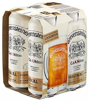 Упаковка пива Grevensteiner янтарное нефильтрованное 5.2% 0.5 л х 24 шт (4005249000992)