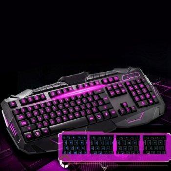 Ігрова клавіатура з мишкою професійна і LED підсвічуванням V100 провідна три види підсвічування (47494im)