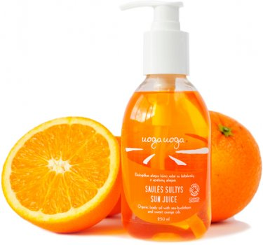 Органічна олія для тіла Uoga Uoga з оліями обліпихи та солодкого апельсина 250 мл (4779040216684)