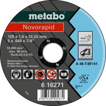 Відрізний диск Metabo Novorapid 125x1x22 мм Inox 25 шт. (UA616271000)