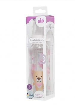 Бутылочка стеклянная антиколиковая Nip Мишка 250 мл, розовая