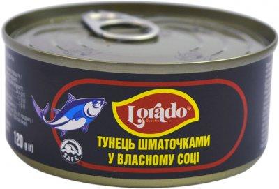 Тунец кусочками Lorado в собственном соку 170 г (4008638316025)