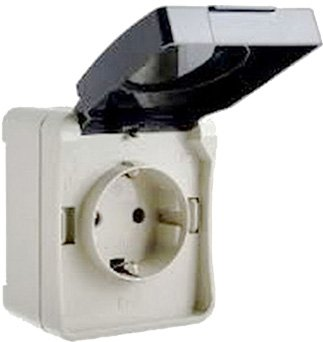 Розетка с заземлением ElectrO ВС20-1РК УФ-защита IP54 2 шт (2VS201RK1654)