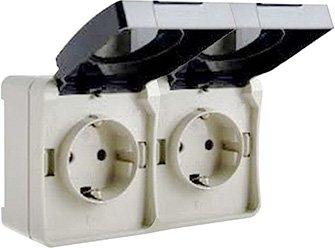 Розетка с заземлением двойная ElectrO ВС20-2РК УФ-защита IP54 (VS202RK1654)