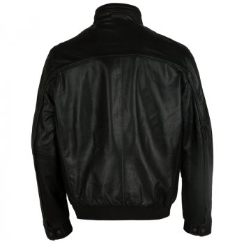 Чоловіча шкіряна куртка з перфорацією Bugatti Чорний 5931-611 999 (ViMoxie)