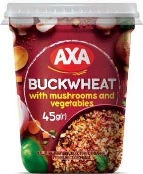 Упаковка каші гречаної AXA швидкого приготування з грибами й овочами 45 г х 8 шт. (4820008129925)