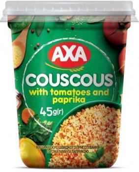 Упаковка каші AXA Кус-кус швидкого приготування з томатами та паприкою 45 г х 8 шт. (4820008129918)