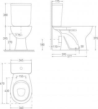 Унитаз-компакт VOLLE Maro New 13-52-333 с бачком и сиденьем полипропилен
