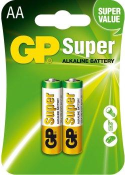 Щелочные батарейки GP Super Alkaline AA 1.5V 15A-U2 LR6 2 шт (4891199000027)